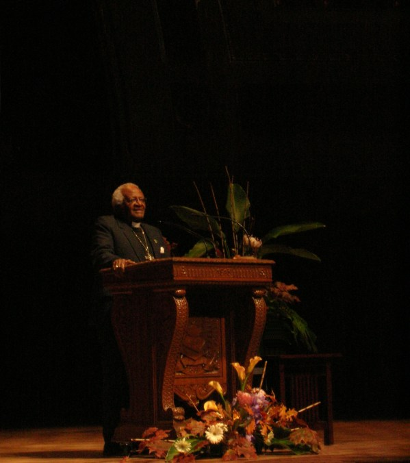 Desmond Tutu giving lecture accepting Wallenberg medal at the University of Michigan, Ann Arbor, MI, October 29 2008