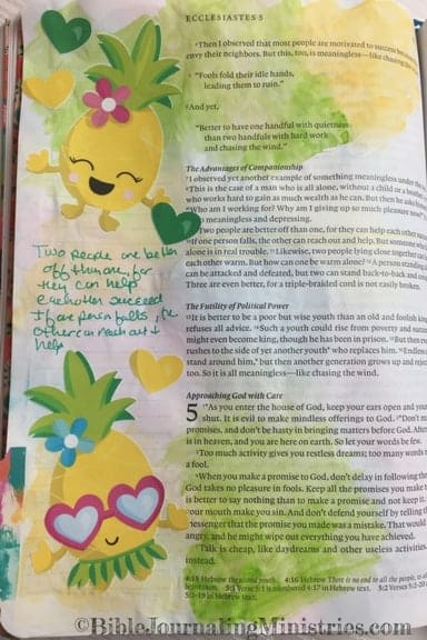 Bible Journaling Ecclesiastes 4:9-10 verse about friends