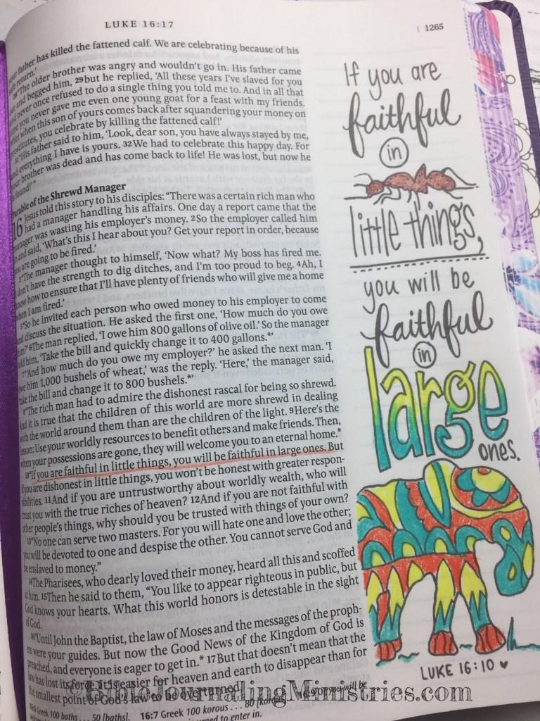 Bible Journaling Ministries Luke 16-10