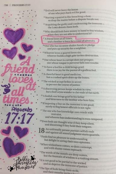 Bible Journaling Proverbs 17:17 verse about friends