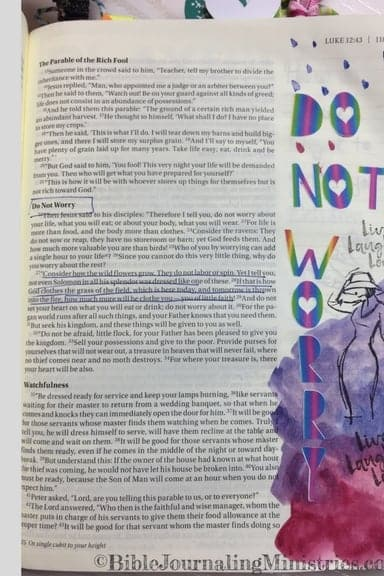 Bible Journaling Ideas for Bible Verses About Clothes Luke 12:27