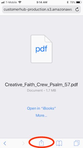 How to print a pdf file from an iphone step 2