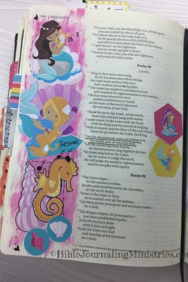 Bible Journaling With Mermaids Psalm 98:7