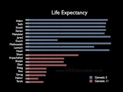 Life expectancy in Genesis 5 and Genesis 11