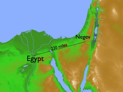 map of Egypt and the Negev
