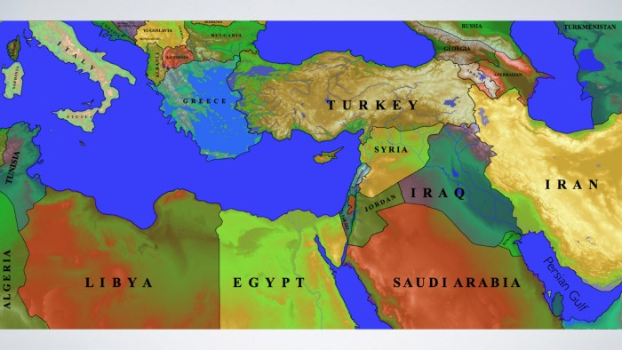 Modern map of the Middle East