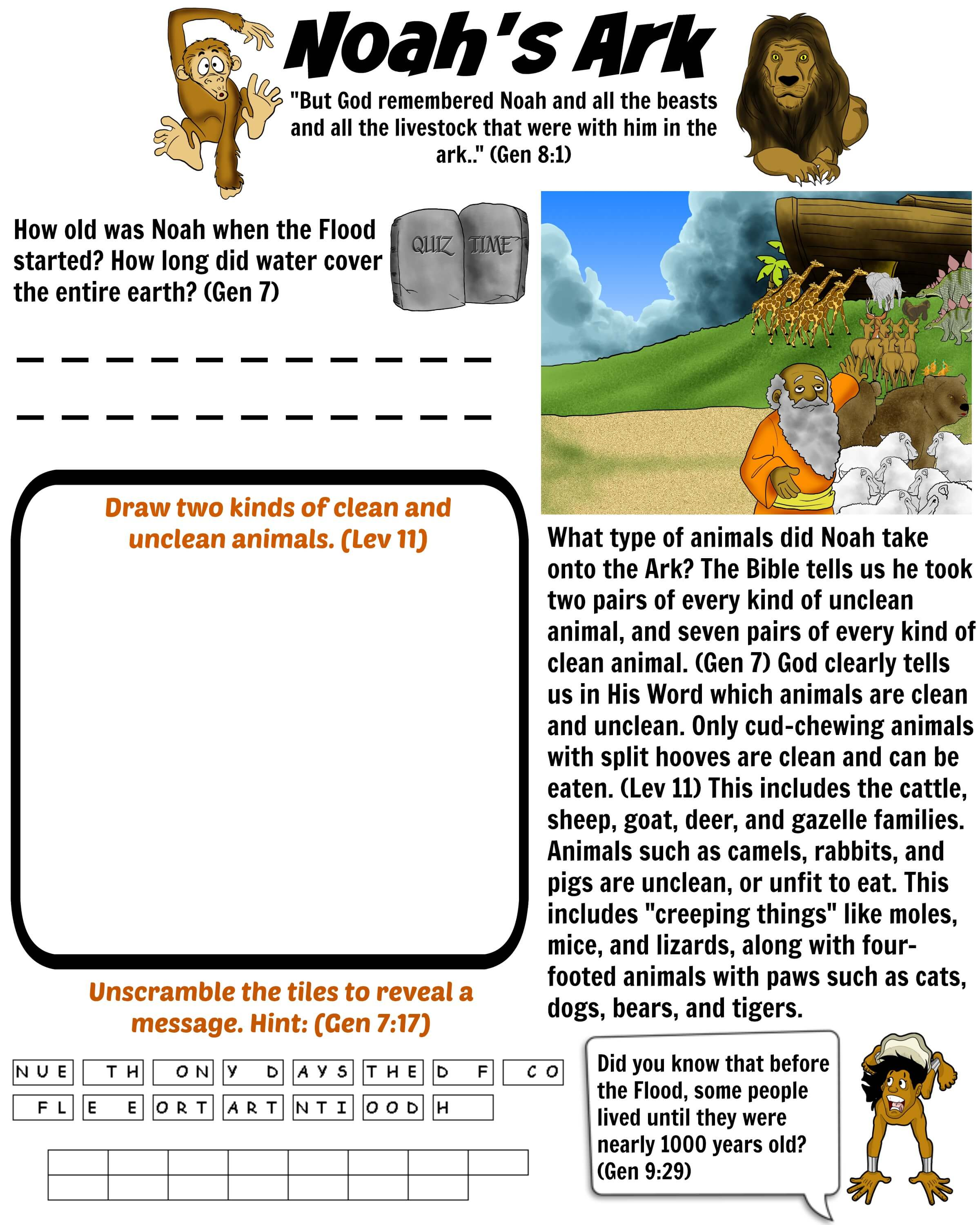 Free Bible Worksheet Noah S Ark Animals On The Ark