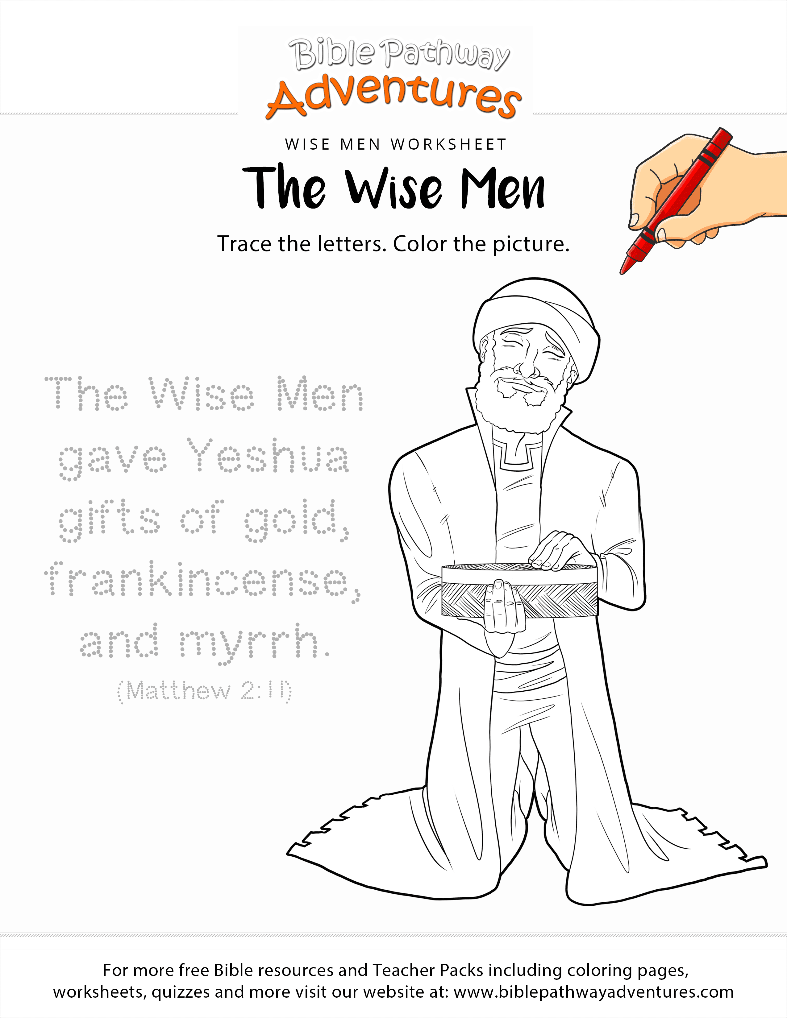 The Wise Men Copywork And Coloring Page
