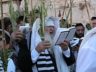 Man during prayers of Sukkot