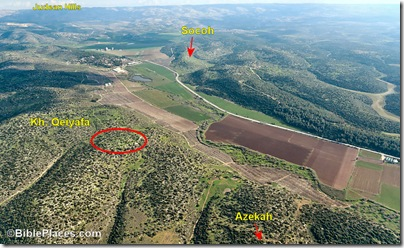 This photo shows the valley of Elah with the cities of Sochoh and Azekah (1 Sam. 17:1-2), as well as the location of Qeiyafa.