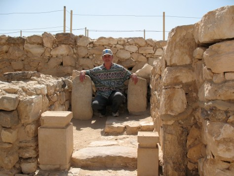Me in the holy of holies at Tel-Arad sitting between the 2 standing stones representing Yahweh and his Asherah