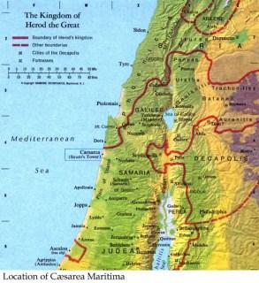 Caesarea is located on the north western coast.
