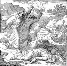 Although this picture is supposed to represent Elijah's execution of the prophets of Baal, there is at least one inaccuracy. The story says nothing about burning any cities. The blogger also comments on the laurel wreaths worn by the slain as a symbol of peace--another inaccuracy.