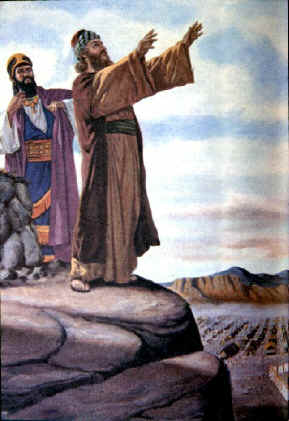 Although Balak wants Balaam to curse Israel, Balaam blesses Israel.