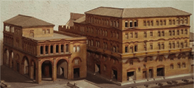 An excellent article in italymagazine.com on Roman housings shows an artistic rendering of what ancient tenement houses or insulae would have looked like.
