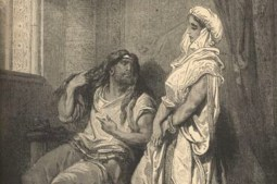 Although this is a picture of Samson and Delilah, let's pretend it's Samson and the Gaza Prostitute since such pictures are hard to find!