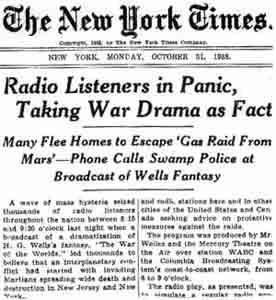 "A misunderstanding of genre caused some to panic in 1938 with the broadcast of ""War of the Worlds."""