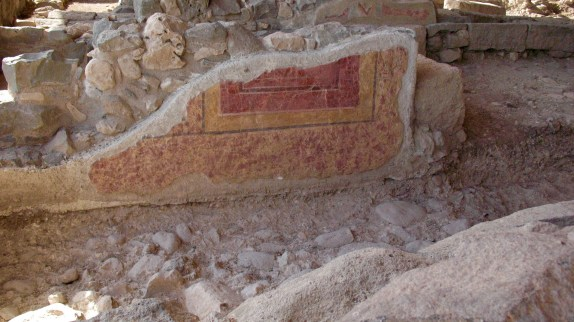This photo is a closeup of one of the walls of the synagogue in Magdala which still shows signs of the colorful frescoes which once adorned its walls.