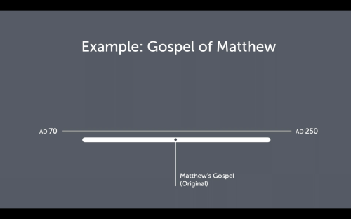 Dr. Evans uses this chart to illustrate that the original copy of Matthew's gospel could easily have existed into the third century. See my discussion below for further information.