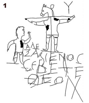 "This graffito, found in the pagan catacombs of Rome (1st-3rd century AD) illustrates how a majority reacted to the idea of a crucified savior. It reads, ""Alexamenos worshipping his god."""