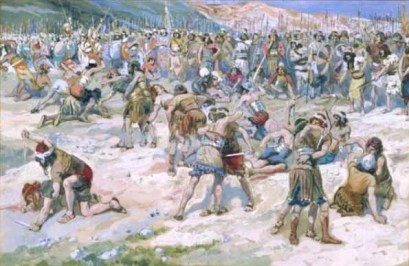 In a painting by Tissot, Joab & Abner oversee a contest in Gibeon between the soldiers of Israel and Judah in which 24 die.