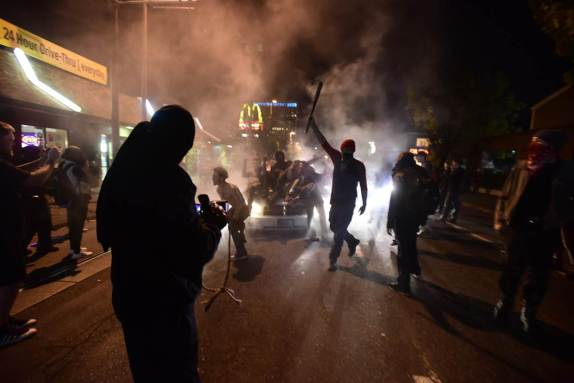 Anti-Trump protest in Portland erupts in violence.