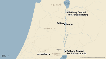 Possible locations of Bethany Beyond the Jordan