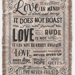 Love is Patient Bible Verse Rose Throw Blanket