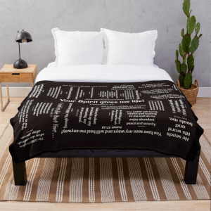 Healing Scriptures Blanket White on Black