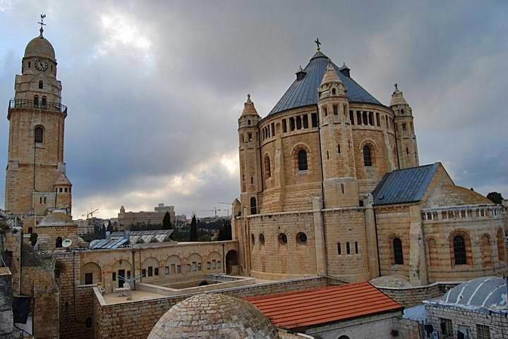 Adormirea Maicii Domnului Abbey, muntele Sionului: vedere din est