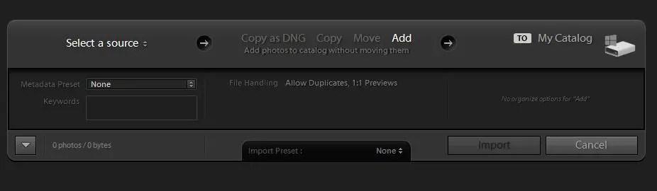 Lightroom Import settings dialog box