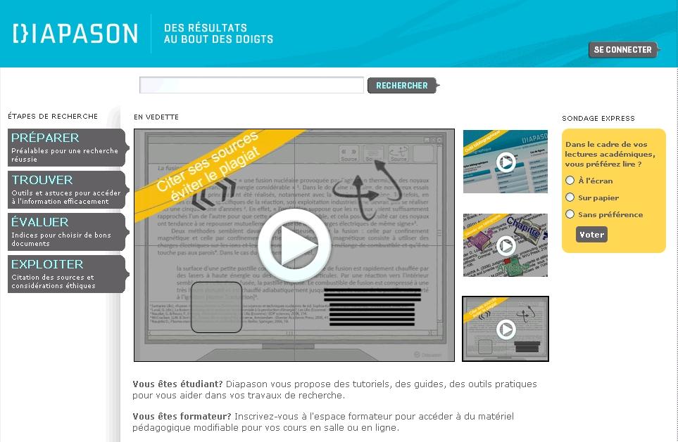 Diapason : des ressources éducatives libres pour une communauté d'apprentissage -