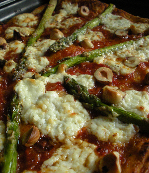 Roast Asparagus, Knockalara Sheep's Cheese and Roasted Hazelnut Pizza