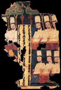 Manichaean priests writing Sogdian manuscripts, in Khocho, Tarim Basin, ca. 8th/9th century AD