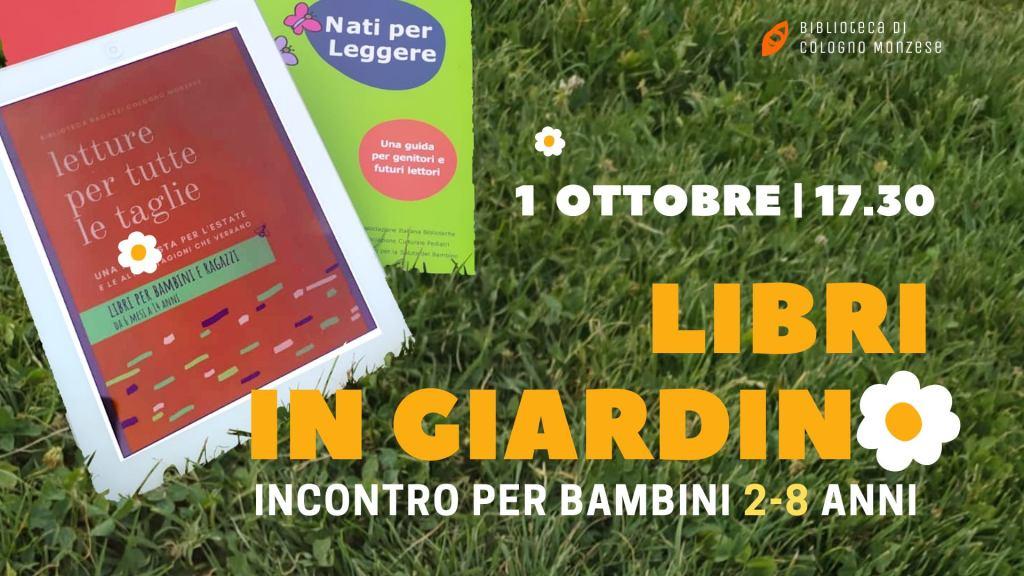 """1° ottobre incontro per bambini, """"libri in giardino"""""""