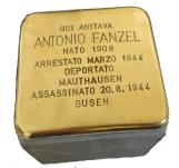 Pietra d'inciampo in memoria di Antonio Fanzel