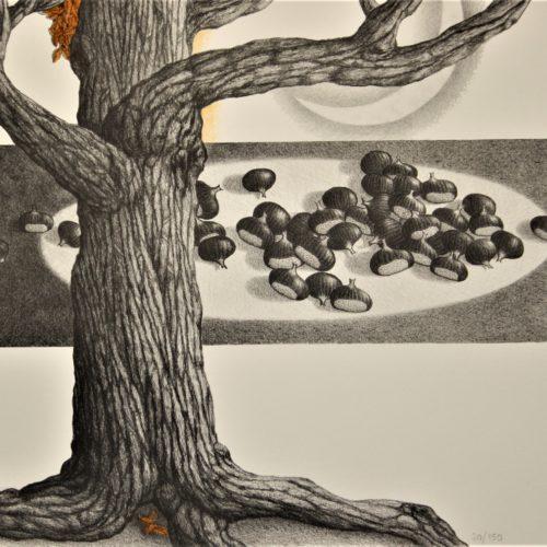 G.Mottinelli, Il castagno degli elfi -2000-08 50x70 cm