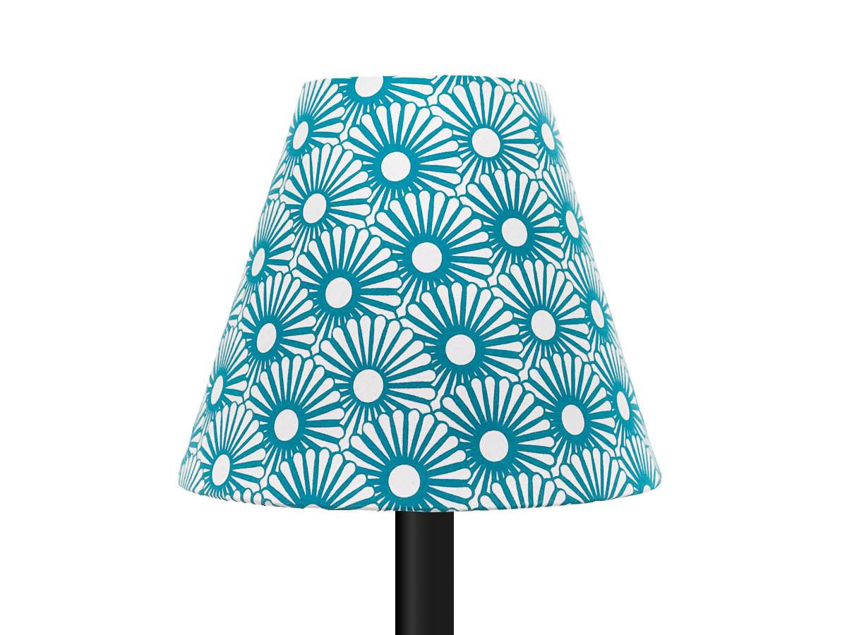 petit abat jour conique lampe motifs bleu petrole
