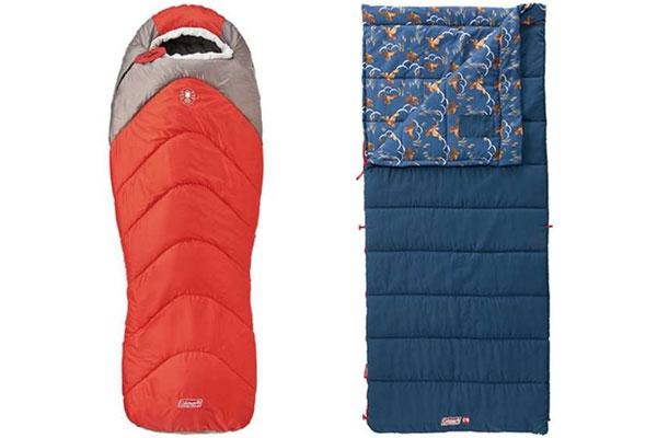 2 спальных мешка красные и синие