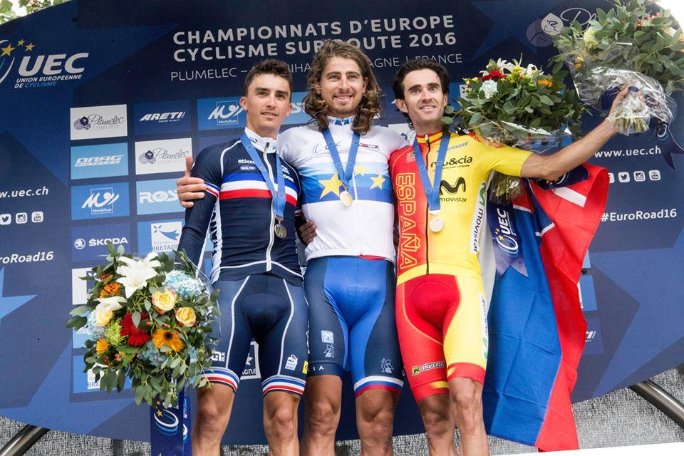 Il podio del primo Campionato Europeo Professionisti della storia vinto da Peter Sagan