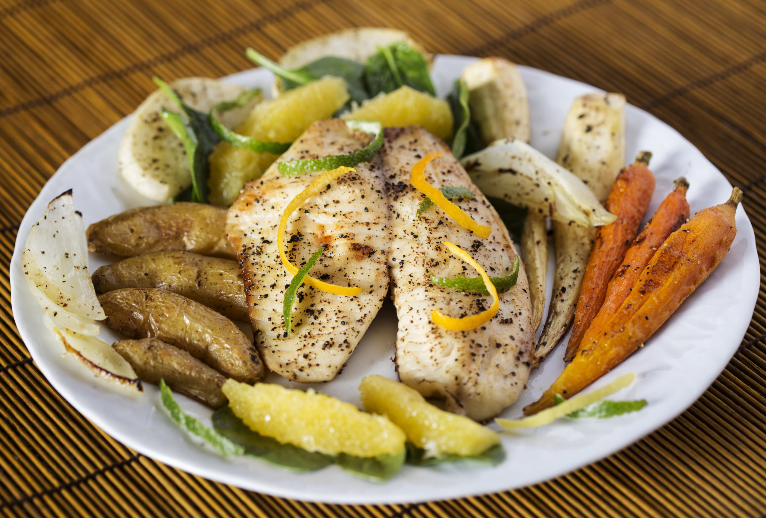 Oven Roasted Tilapia with Winter Vegetables and Citrus Vinaigrette