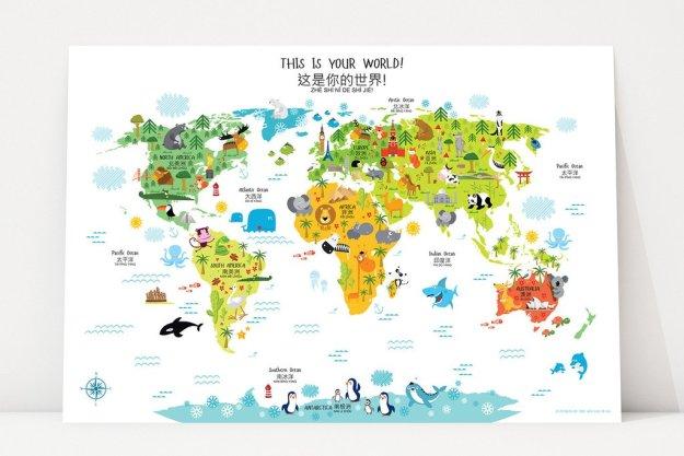 english-chinese world maps