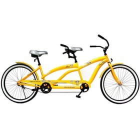 26″ Tandem Bike, Yellow, Hi-ten frame, oversized fork, convenient riding