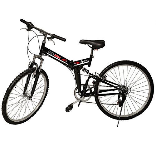 Generic 26″ Folding 6 Speed Mountain Bike Bicycle Shimano School Sport Black