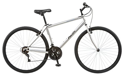 Pacific Bryson Men's 700c 18 Hybrid Bike, 18-Inch/Medium, Silver