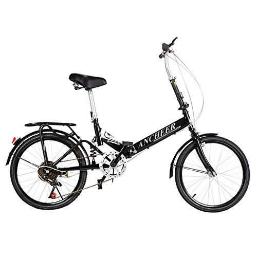 Ancheer 6 Speed Folding Bike 20 inch Foldable Bicycle Black