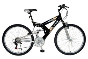 TITAN Punisher Dual-Suspension All-Terrain Men's Mountain Bike, 21-Speed, Black and Gold