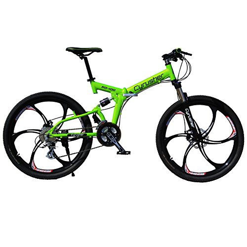 Selected Cyrusher RD-100 Green Shimano M310 ALTUS Full Suspenion 24 Speeds Folding Mens Mountain Bike Bicycle 17 in * 26 in Aluminium Frame Disc Brakes