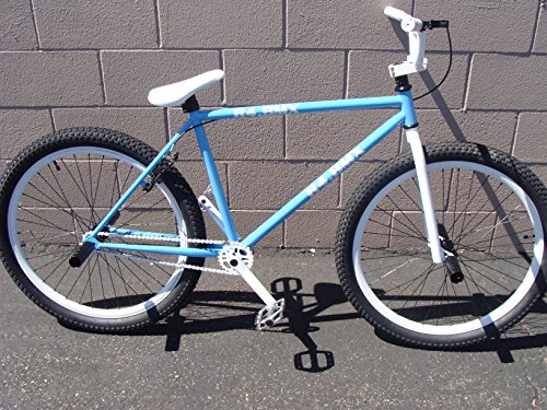 New 2016 R4 Blue & White 26″ Bmx Freestyle Cruiser Old School Bicycle with Pegs