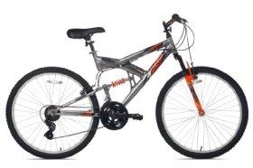 Northwoods Aluminum Full Suspension Mountain Bike (Grey/Orange, 26-Inch)